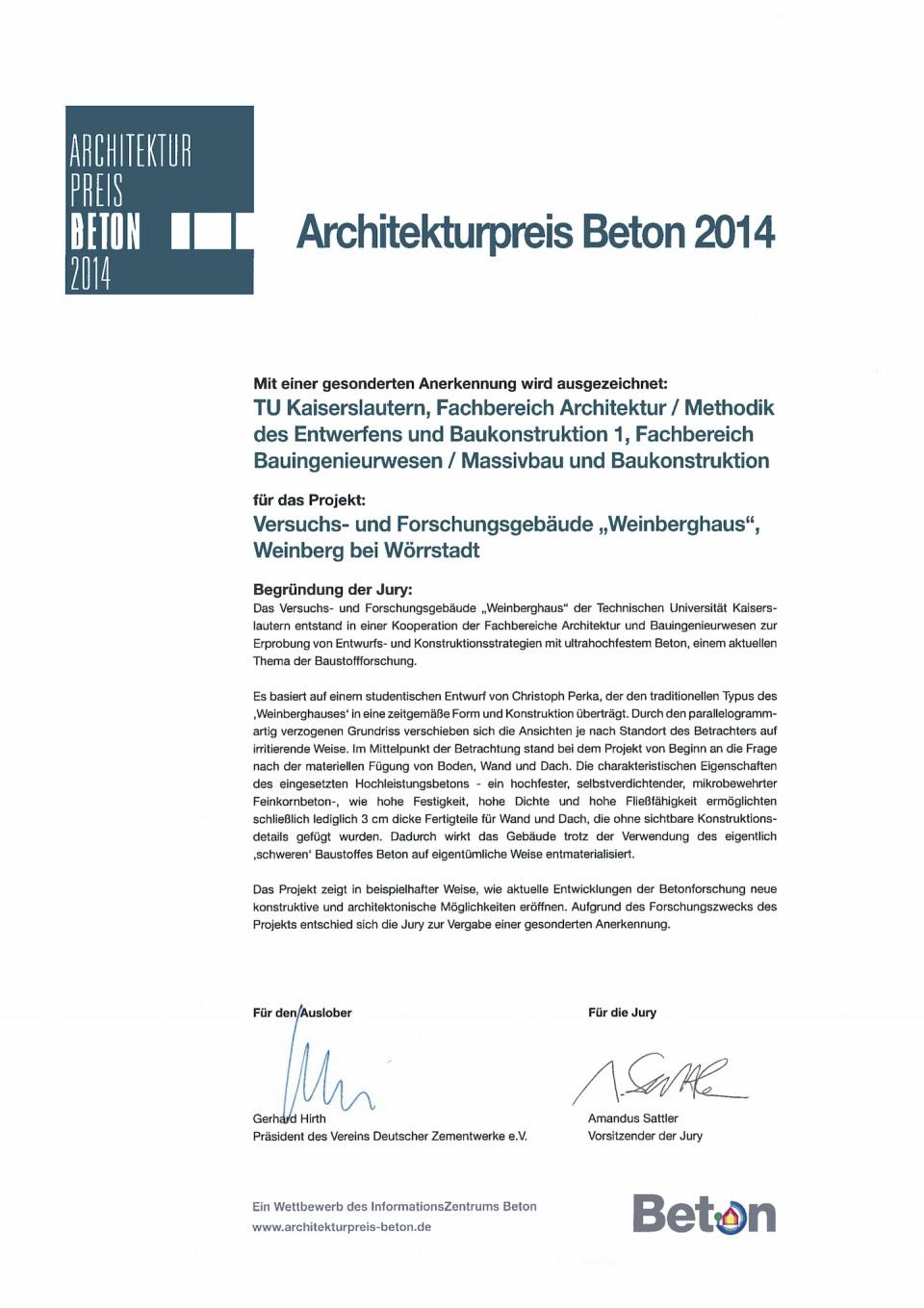 Architekturpreis Beton für das Weinberghaus