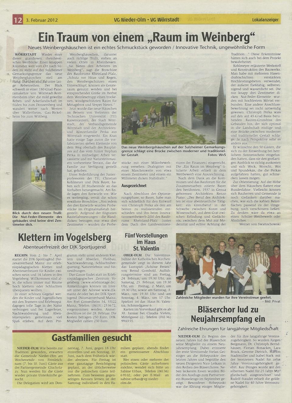 Das Weinberghaus im Lokalanzeiger