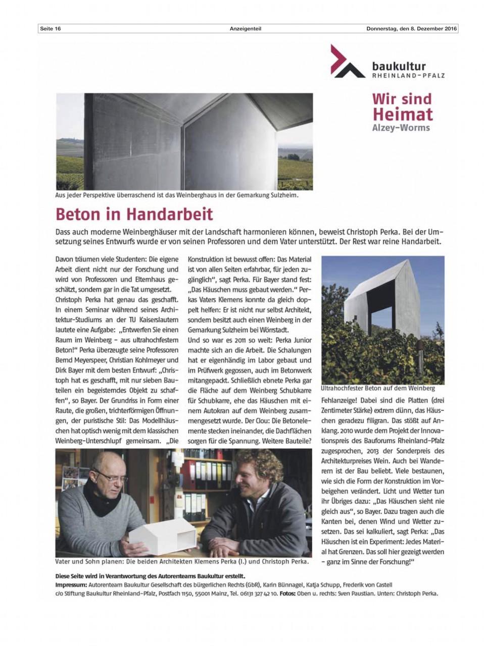 Das Weinberghaus im Nachrichtenblatt