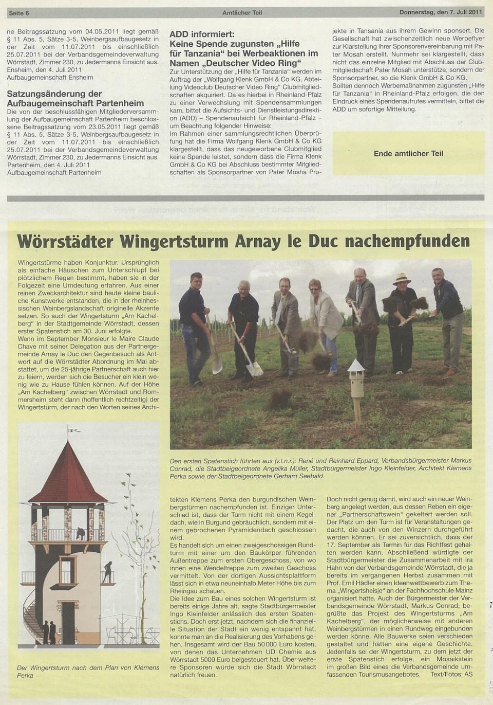 Der Weinbergturm in der Zeitung